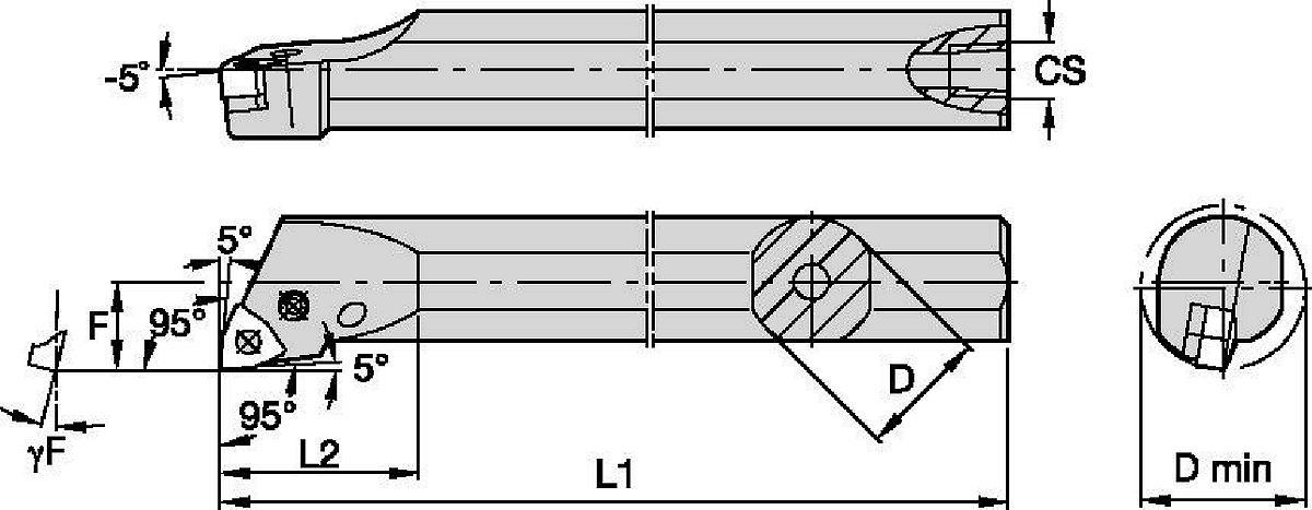 Stahlschaft mit innerer Kühlmittelzuführung