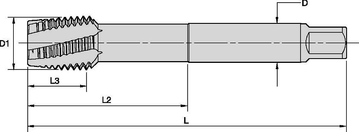 Machos de roscar HSS-E-PM de corte a derechas, de canal espiral a izquierdas Beyond™ • Agujeros pasantes