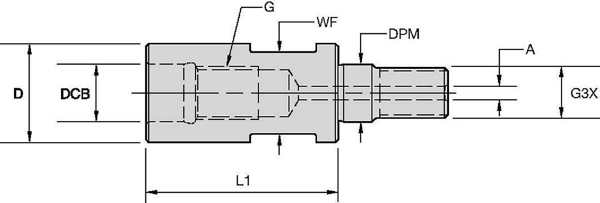 モジュラーミーリングカッター用スクリューオンアダプター