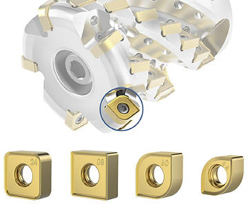 HARVI Ultra 8X – Die Fräser sind mit verschiedenen Plattensitzkonstruktionen in der Stirnreihe erhältlich.