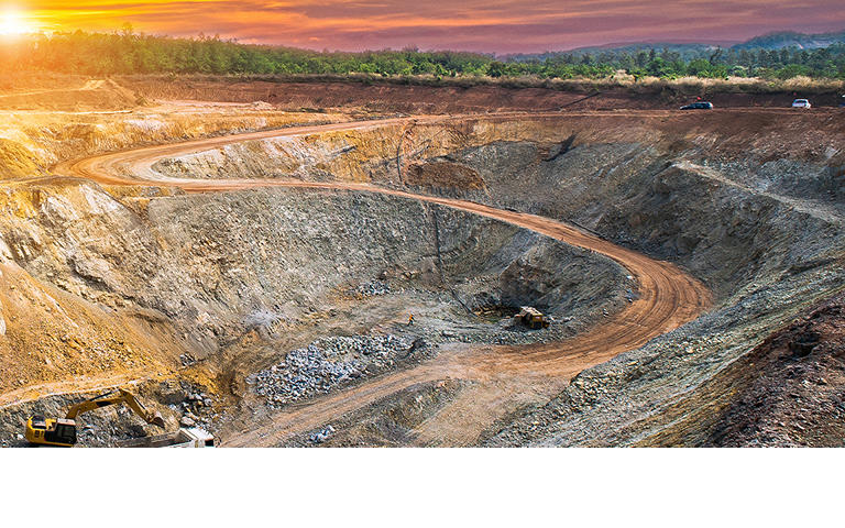 View of open cast gold mine, mining industry