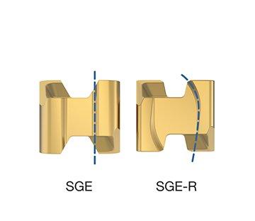 Geometria SGE-R com maior ângulo de folga para interpolação helicoidal e rampa.
