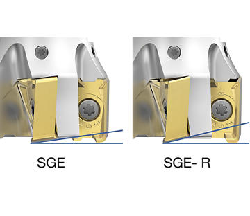 SGE-R geometry with larger clearance angle for helical interpolation and ramping.