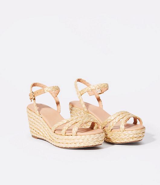 LOFT Straw Wedge Sandals
