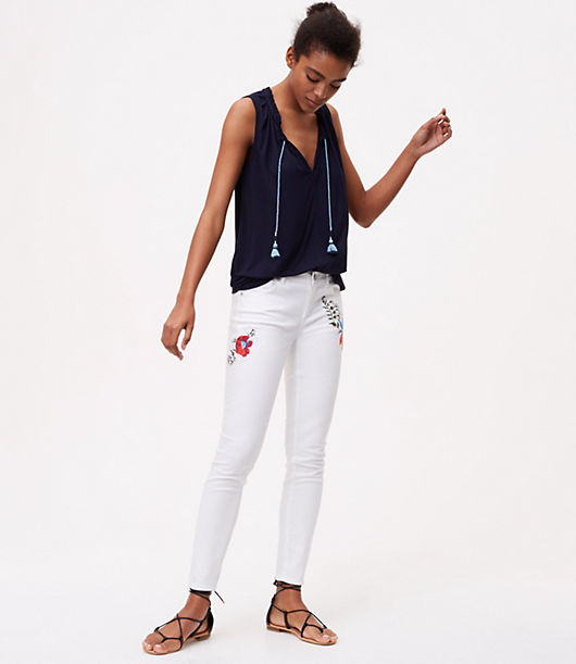LOFT Floral Embroidered Skinny Jeans