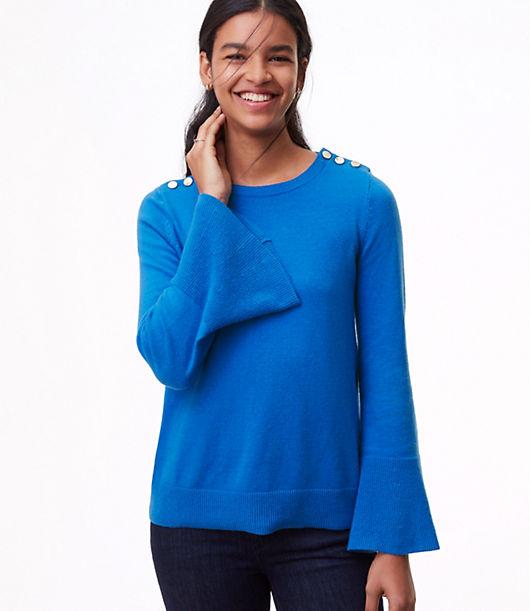 LOFT Shoulder Button Bell Sleeve Sweater 24057639