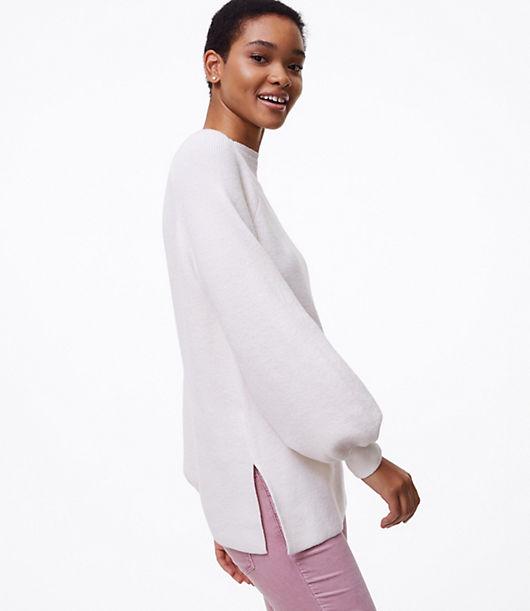 LOFT Ribbed Blouson Tunic Sweater