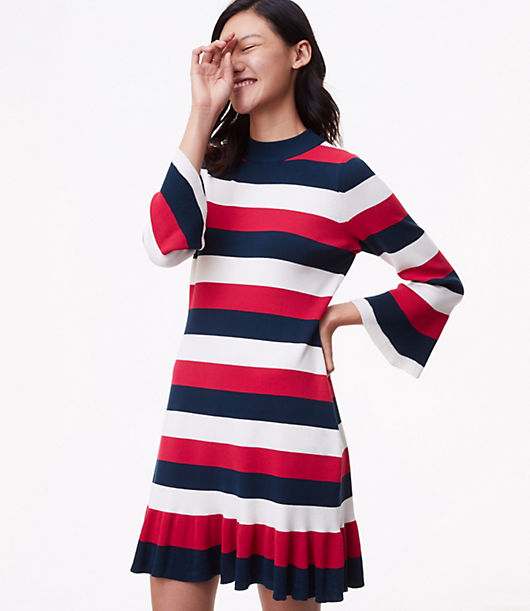 LOFT Striped Flounce Sweater Dress