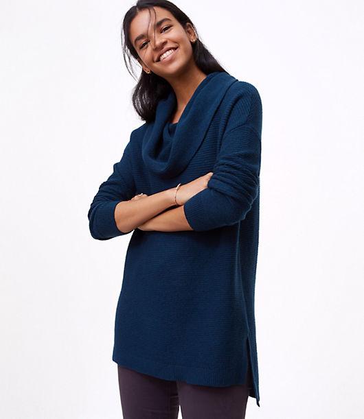 LOFT Textured Cowlneck Tunic Sweater
