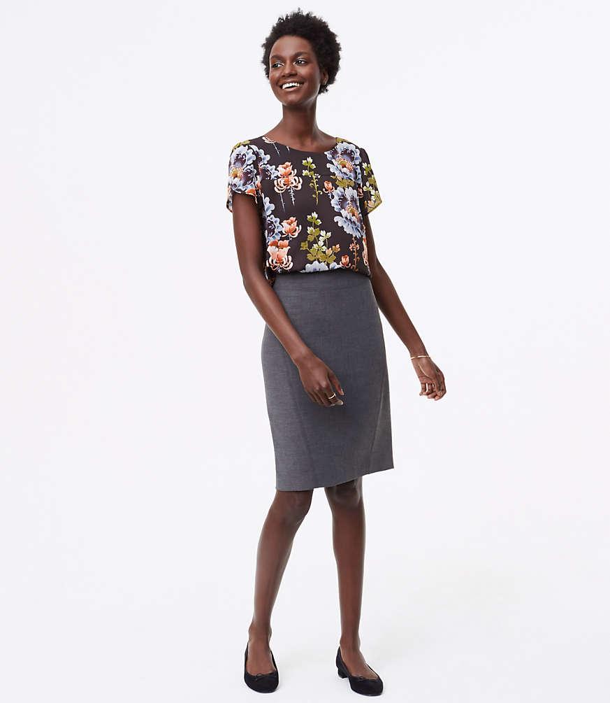 Petite Seamed Scuba Pencil Skirt