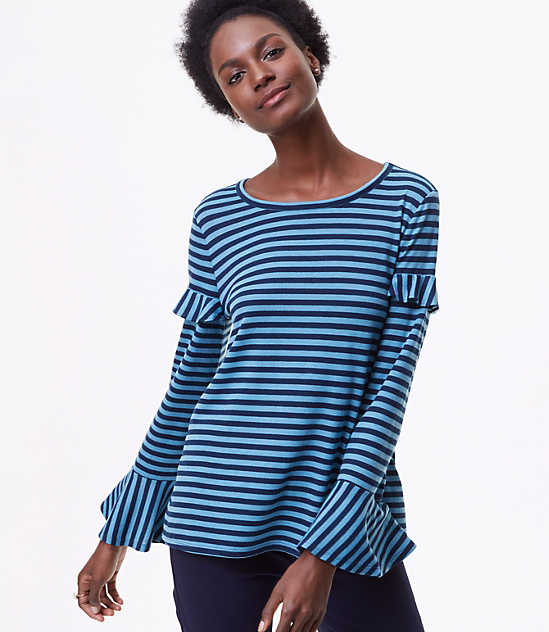 Sale tops loft striped ruffle bell sleeve tee sciox Images