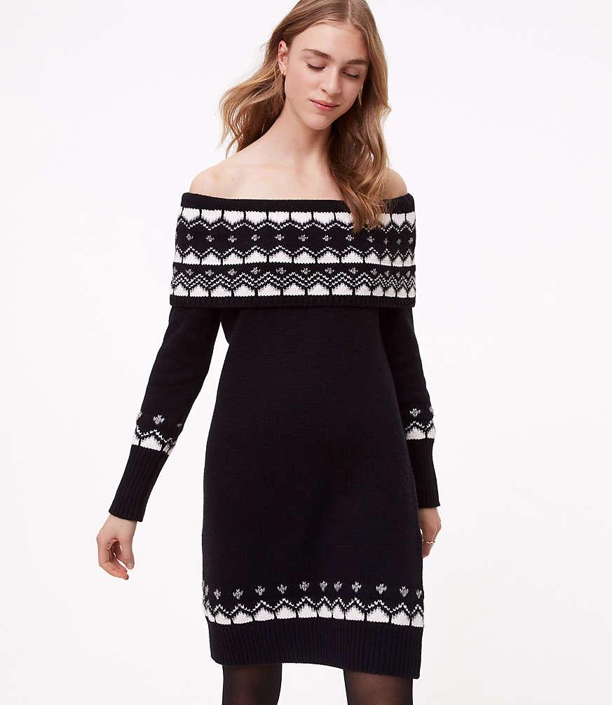 Fairisle Off The Shoulder Sweater Dress   LOFT
