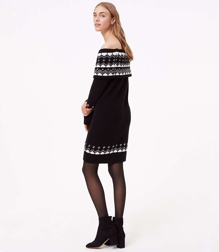 Fairisle Off The Shoulder Sweater Dress | LOFT