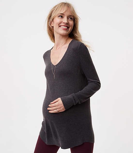 Maternity Rounded V Neck Sweater