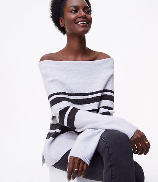 LOFT Petite Striped Foldover Off the Shoulder Sweater 23897625