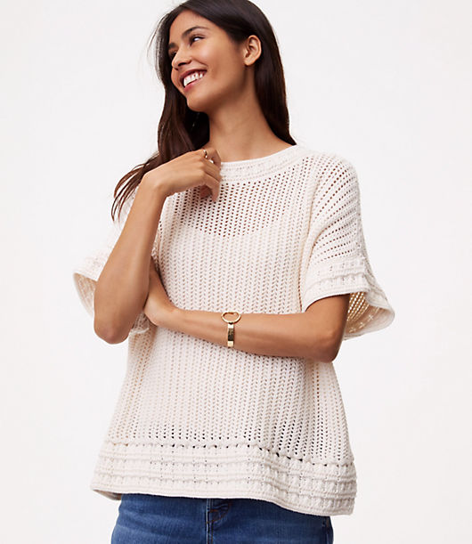 LOFT Crochet Border Sweater
