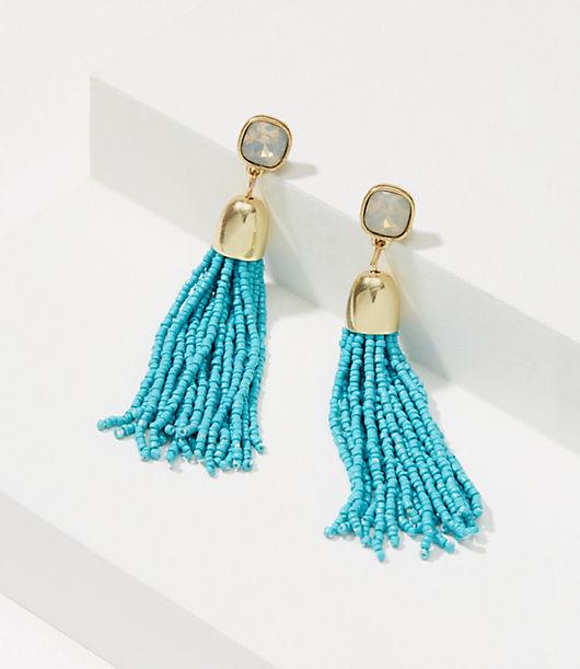 Vintage Style Jewelry, Retro Jewelry LOFT Seed Bead Tassel Earrings $19.88 AT vintagedancer.com