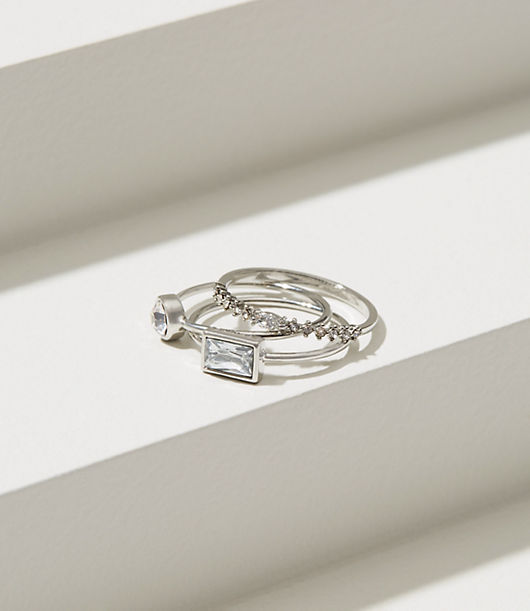 LOFT Delicate Pave Stackable Ring Set