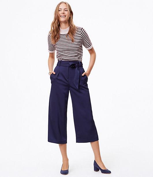 Vintage High Waisted Shorts, Sailor Shorts, Capris LOFT Shimmer Wide Leg Pants $34.88 AT vintagedancer.com