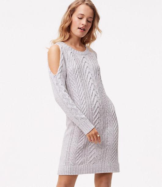 LOFT Cable Cold Shoulder Sweater Dress 23921481