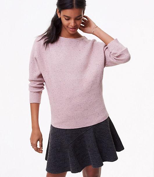 LOFT Flecked Ribbed Dolman Sweater