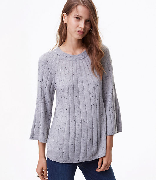 LOFT Petite Flecked Ribbed Swing Sweater 24046848