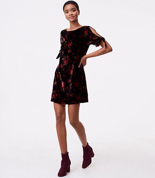 LOFT Petite Fall Floral Velvet Split Sleeve Dress