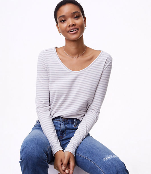 LOFT Petite Heather Striped Long Sleeve Tee 24186384