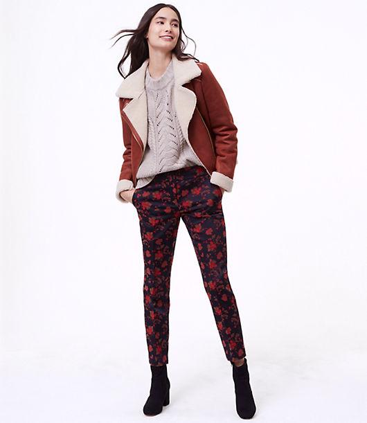LOFT Petite Slim Fall Floral Pants in Marisa Fit