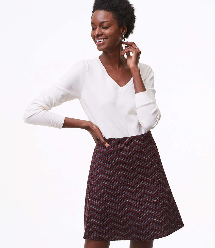 Petite Dot Chevron Flippy Skirt