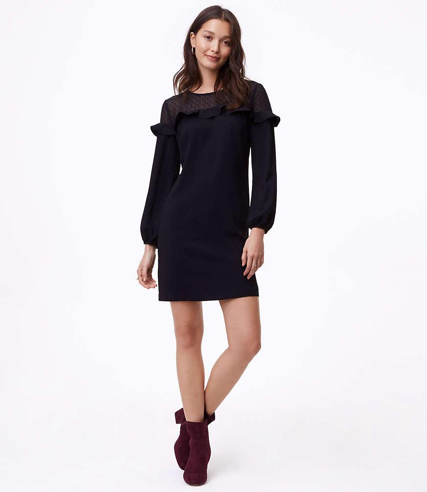 66b741653b5 Petite Sheer Dot Yoke Shift Dress by LOFT