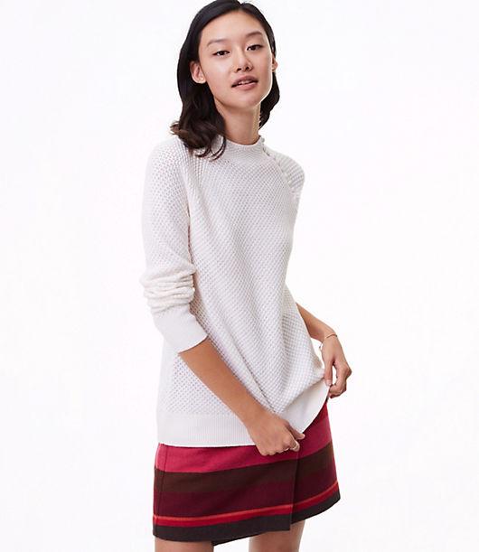 LOFT Petite Textured Shoulder Button Sweater 24047241
