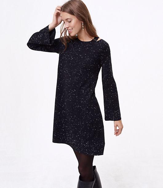 LOFT Petite Flecked Cutout Sweater Dress 24162500