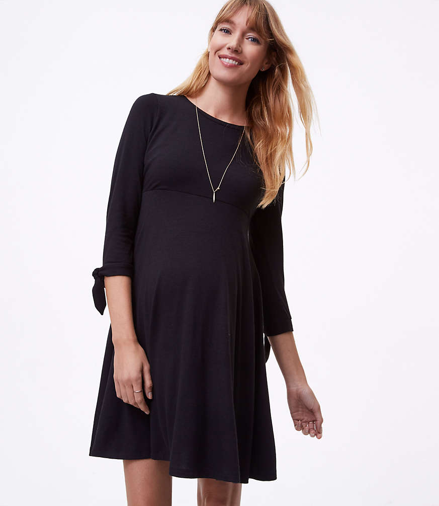 Maternity tie cuff flare dress loft ombrellifo Choice Image
