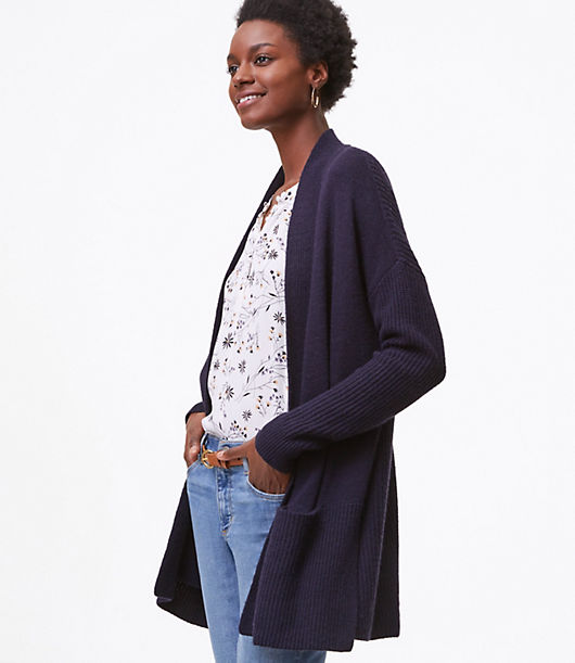 LOFT Rib Trim Pocket Open Cardigan 24317283