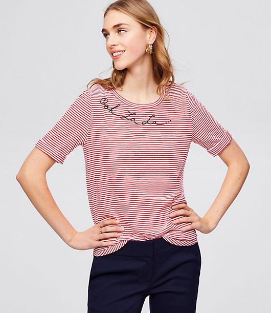 Vintage & Retro Shirts, Halter Tops, Blouses LOFT Ooh La La Tee $29.50 AT vintagedancer.com