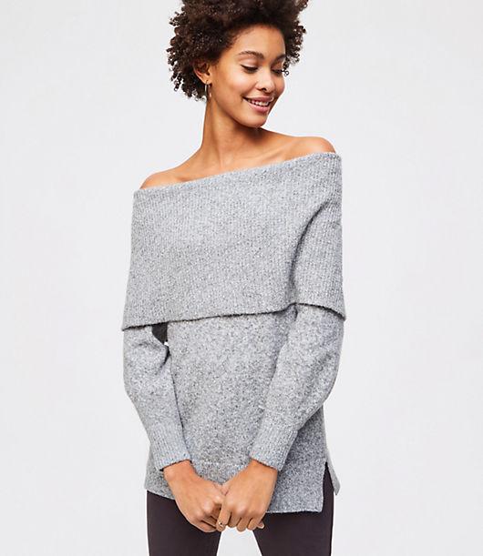 LOFT Foldover Off The Shoulder Sweater 24414821