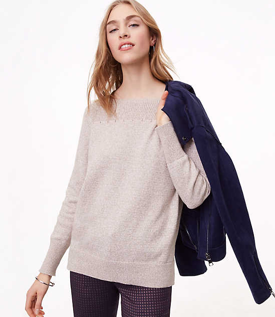 Rib Trim Boatneck Sweater