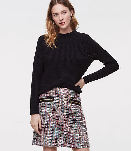 LOFT Petite Zip Pocket Tweed Skirt