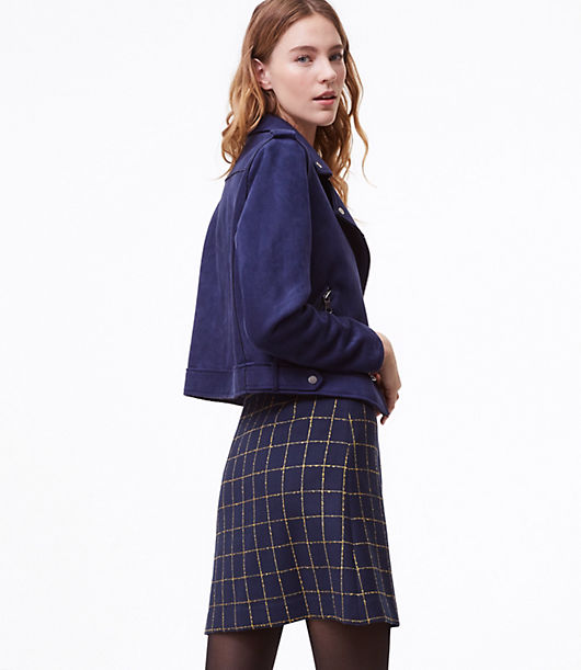 LOFT Windowpane Shift Skirt