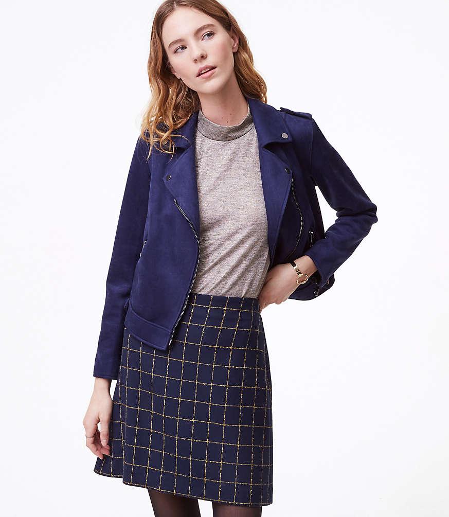 Petite Windowpane Shift Skirt