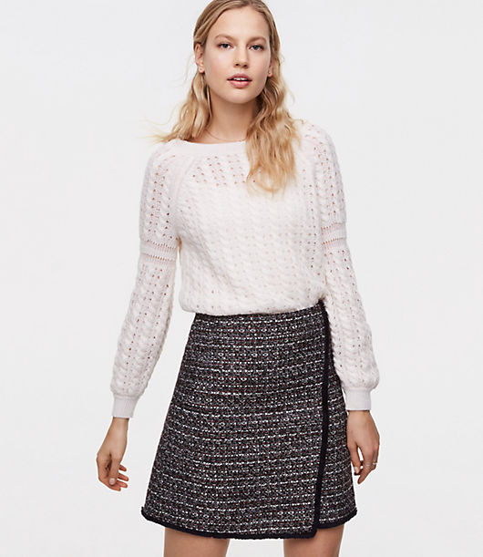 LOFT Petite Fringe Tweed Wrap Skirt