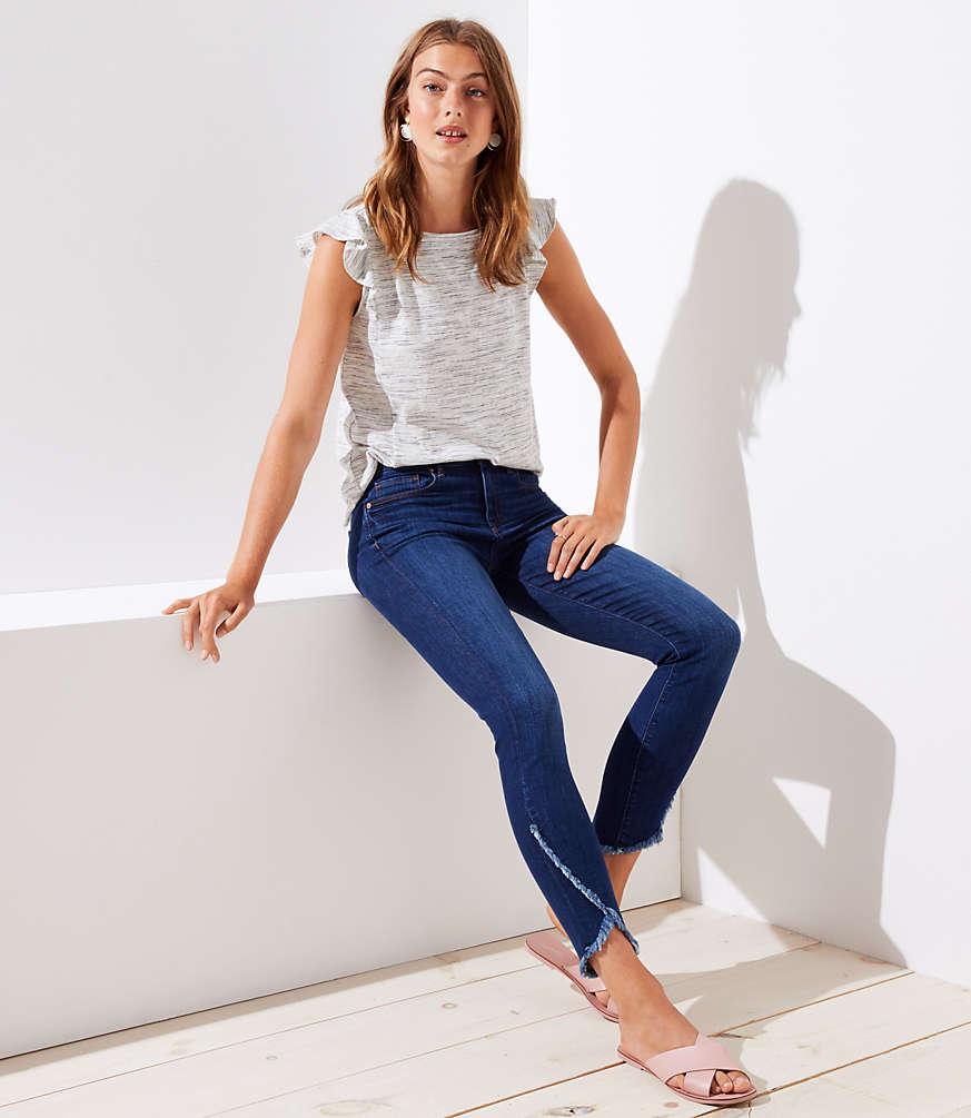 Petite Modern Tulip Hem Skinny Jeans in Classic Dark Indigo Wash