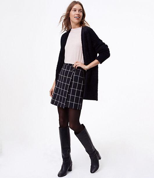 LOFT Windowpane Wrap Skirt