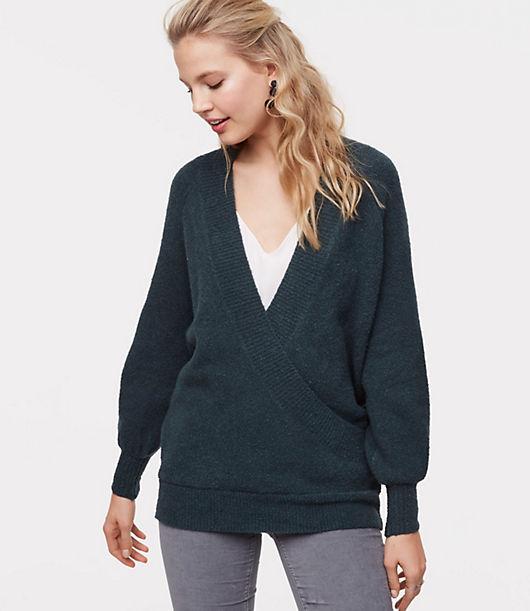 LOFT Petite Wrap Tunic Sweater