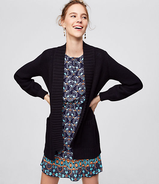 LOFT Rib Trim Pocket Open Cardigan 24373616