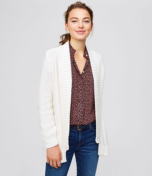 LOFT Rib Trim Pocket Open Cardigan 24373715