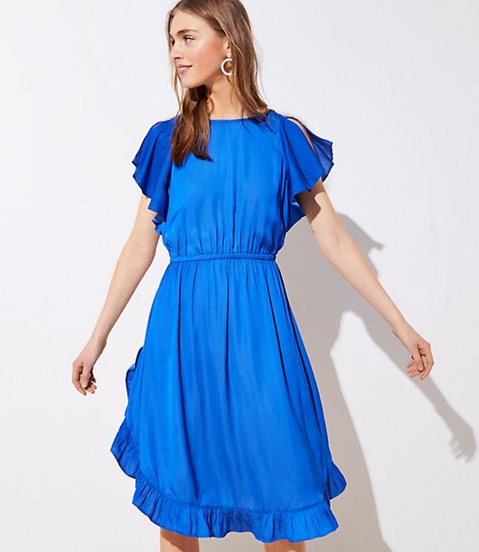 LOFT Split Sleeve Satin Dress