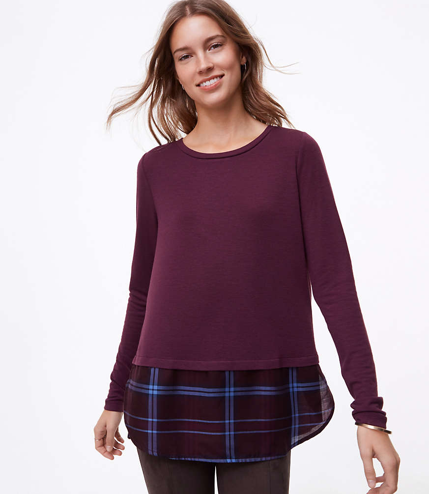 Petite Plaid Two In One Top