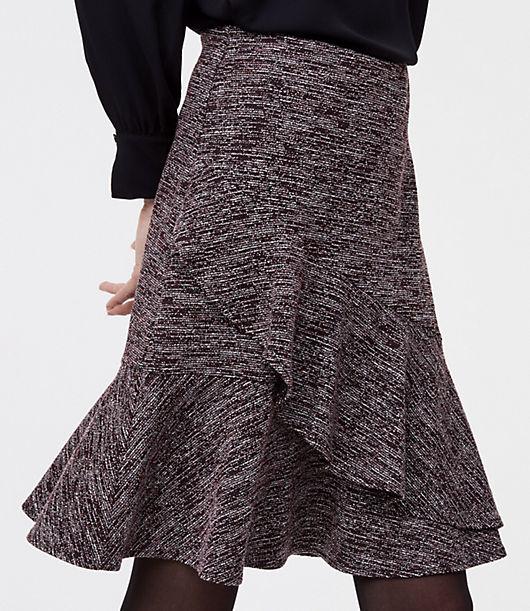 LOFT Tweed Ruffle Wrap Skirt